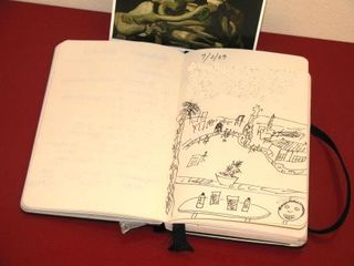 Using the Moleskine for a highly artistic sketch of the subject at Gaudi's Parc Guell.
